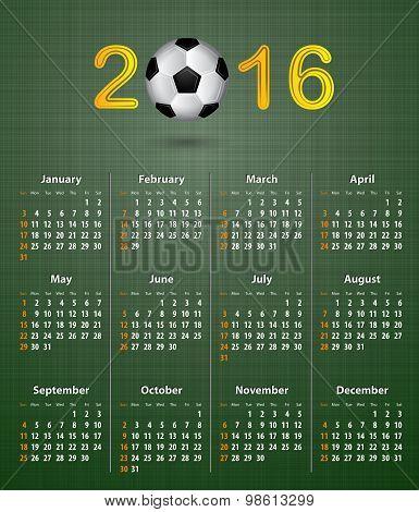 Soccer Calendar For 2016 On Green Linen Texture