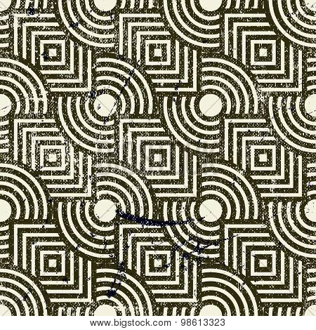 Retro geometric seamless background, vintage vector repeat pattern with aged grunge dirty texture.