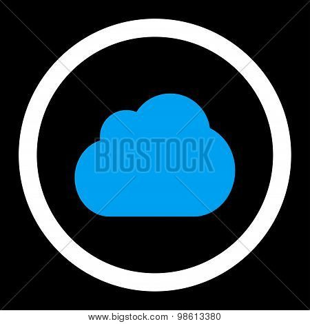 Cloud flat blue and white colors rounded raster icon