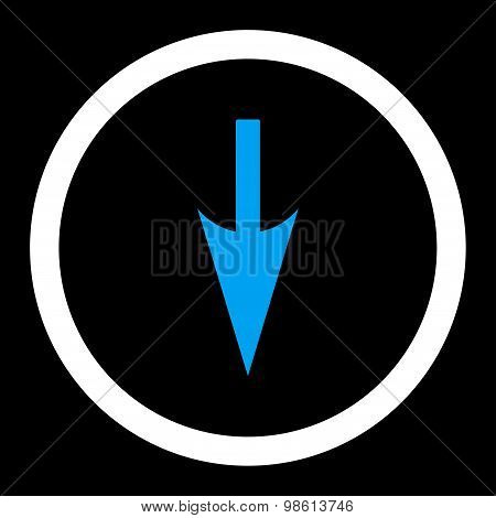 Sharp Down Arrow flat blue and white colors rounded raster icon