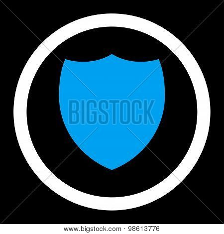 Shield flat blue and white colors rounded raster icon