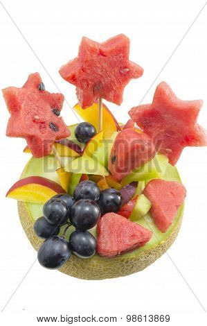 Healthy Attractive Fruit Salad Served In A Fresh Melon Isolated