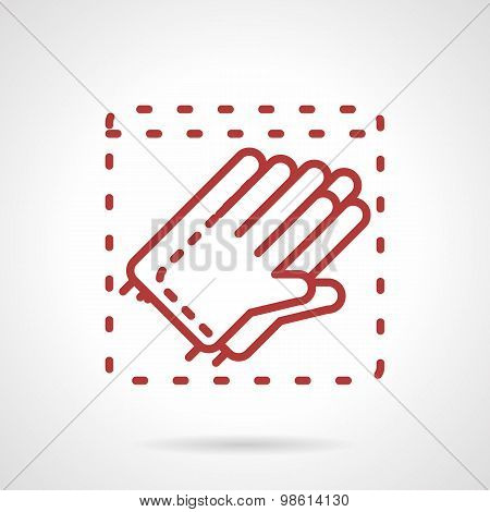Sterile gloves red line vector icon