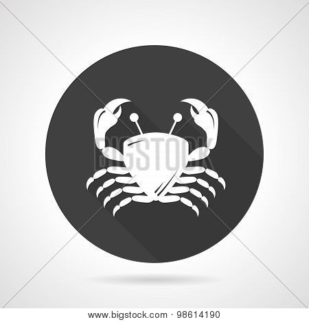 Crab black round vector icon