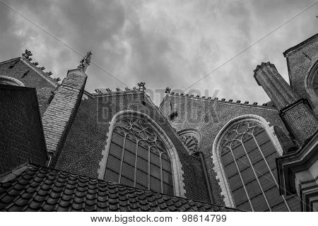 Gothic Windows And Architectural Details On A Church In Amsterdam
