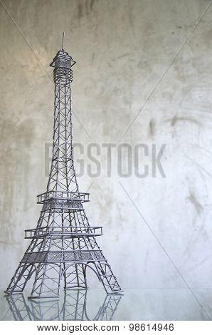 Eiffel tower on raw concrete background