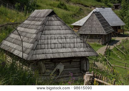 Old traditional wooden house.