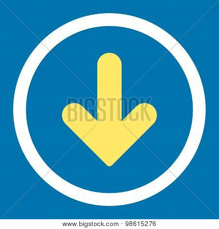 Arrow Down flat yellow and white colors rounded raster icon