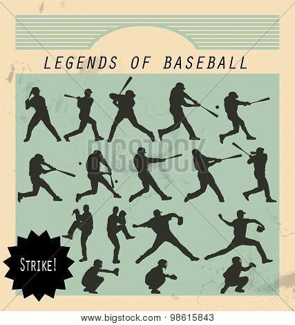 Ballplayer - silhouettes of baseball players on retro background