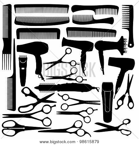 Barber hairdressing salon equipment - hairdryer scissors and comb