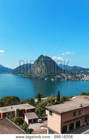 Lugano lake, panoramic view from the terrace of an apartment