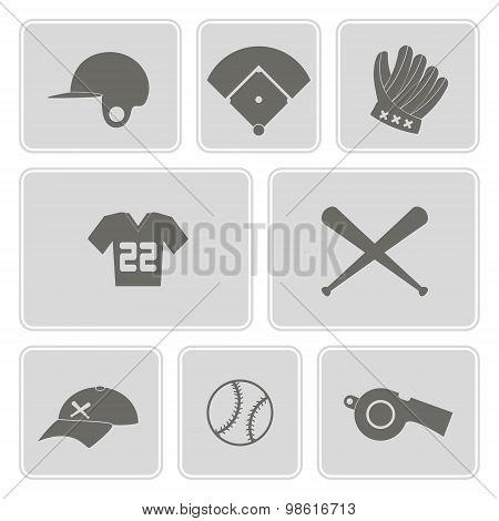 Monochrome set with baseball icons