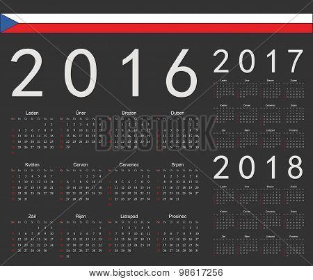 Set Of Black Czech 2016, 2017, 2018 Year Vector Calendars