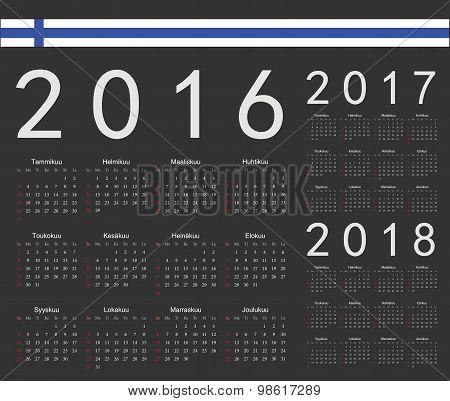 Set Of Black Finnish 2016, 2017, 2018 Year Vector Calendars