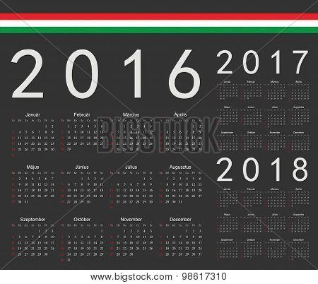 Set Of Black Hungarian 2016, 2017, 2018 Year Vector Calendars