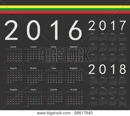 Set Of Black Lithuanian 2016, 2017, 2018 Year Vector Calendars