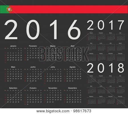 Set Of Black Portuguese 2016, 2017, 2018 Year Vector Calendars