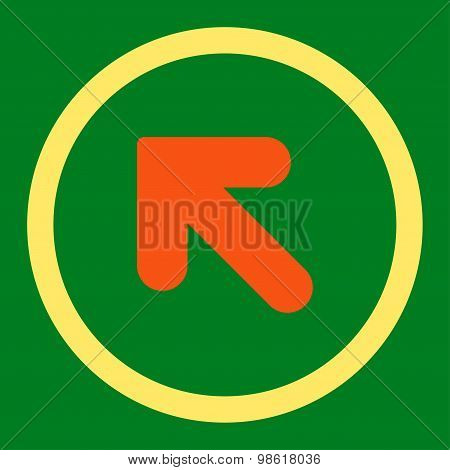 Arrow Up Left flat orange and yellow colors rounded raster icon