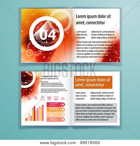 Color application brochure template design for corporate identity with watercolor splash and geometry shapes. Cover layout and infographics. Business stationery.