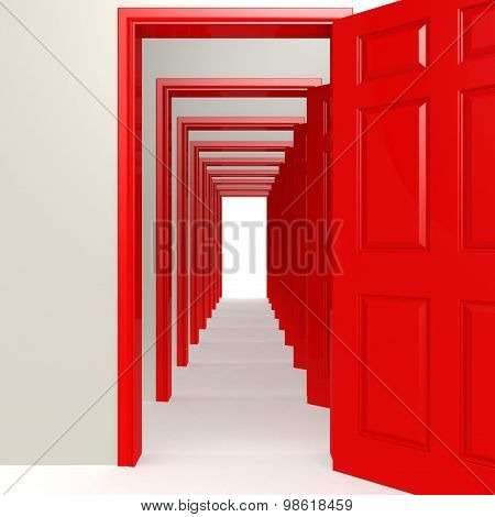 Multiple Red Doors In A Row