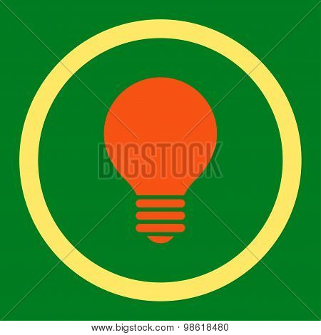Electric Bulb flat orange and yellow colors rounded raster icon