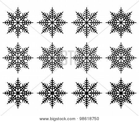 Set of snowflakes. Isolated.