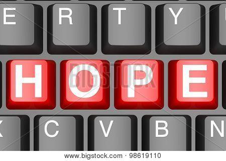 Hope Button On Modern Computer Keyboard
