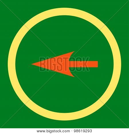 Sharp Left Arrow flat orange and yellow colors rounded raster icon