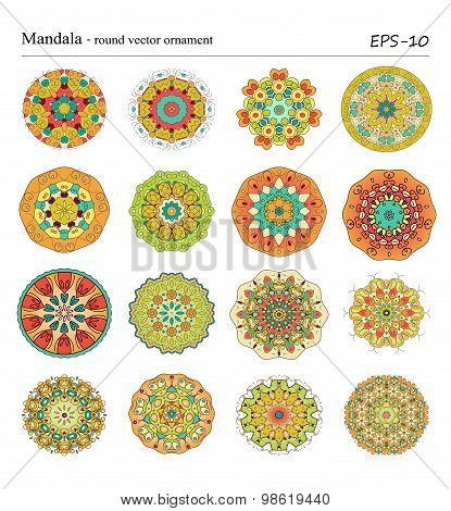 Round geometric ornaments set of had drawn doodle mandalas.