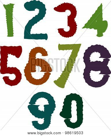 Calligraphic brush numbers, hand-painted bright vector numeration.