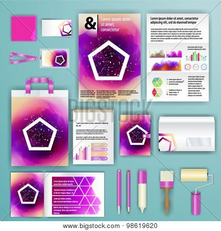 Geometry corporate identity template design with watercolor splash. Cover layout and infographics. Business stationery.
