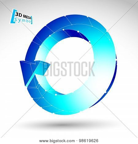 3d mesh update sign isolated on white background, lattice colorful renew icon, blue 3d technology