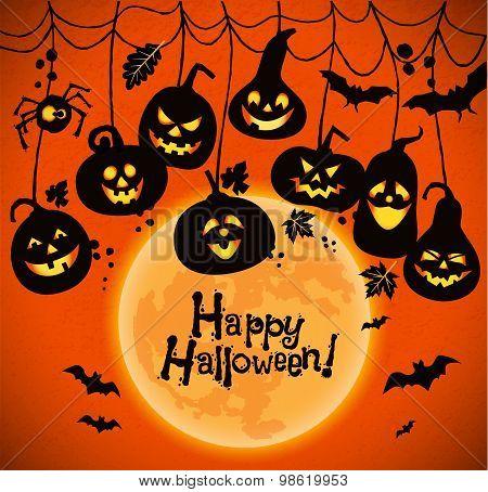 Halloween Background Of Cheerful Pumpkins