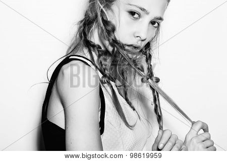 Closeup Of Fashion Girl Hipster With Pigtails