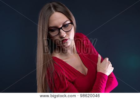 Photo of woman in glasses, leaned aside