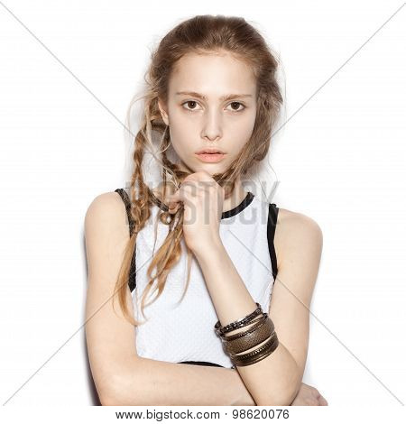 Closeup Of Fashion Beautiful Woman With Pigtails