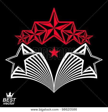 Vector detailed luxury 3d symbol. Monarch emblem, celebrative stars. Stylized icon, award concept