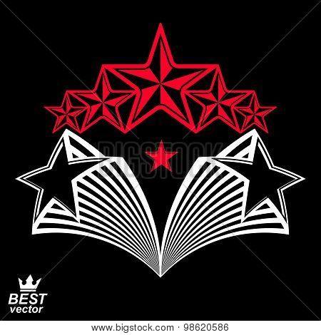 Vector detailed luxury 3d symbol. Monarch emblem, celebrative stars. Stylized icon, award concept