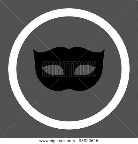 Privacy Mask flat black and white colors rounded raster icon