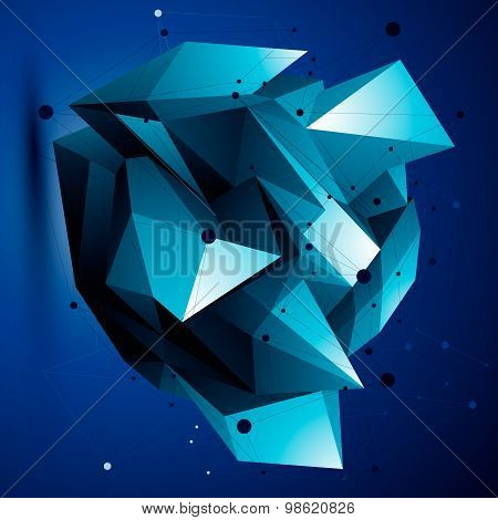 3D vector abstract design object, bright polygonal complicated figure with lines mesh.