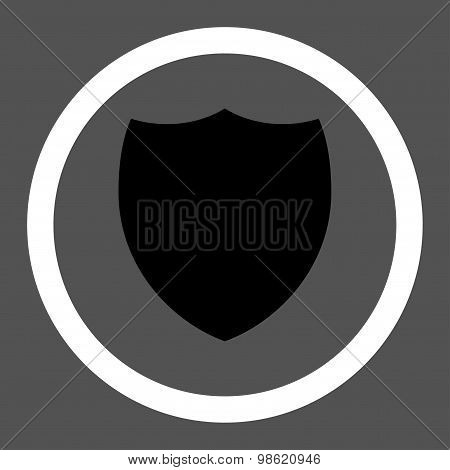 Shield flat black and white colors rounded raster icon