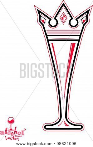 Champagne glass with royal crown, decorative goblet full with sparkling wine.