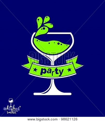 Decorative winery emblem, stylized goblet with wavy ribbon. Elegant artistic wineglass illustration,