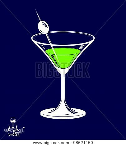 Realistic 3d martini glass with olive berry placed over dark background, beverage theme illustration