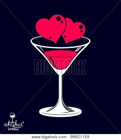 Valentine day beautiful illustration, martini glass with two loving hearts isolated on dark backdrop