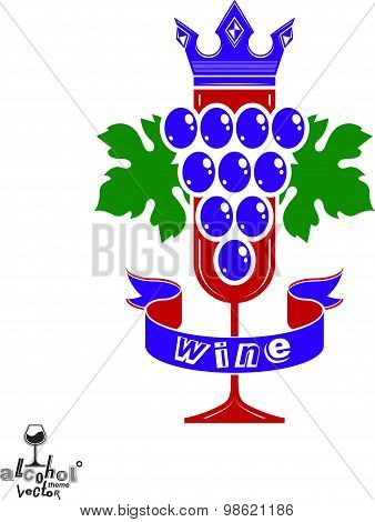 Elegant glass of wine with grapes cluster with decorative ribbon and royal crown