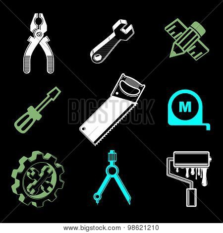 Set of 3d detailed tools, repair theme stylized graphic elements isolated on white. Collection