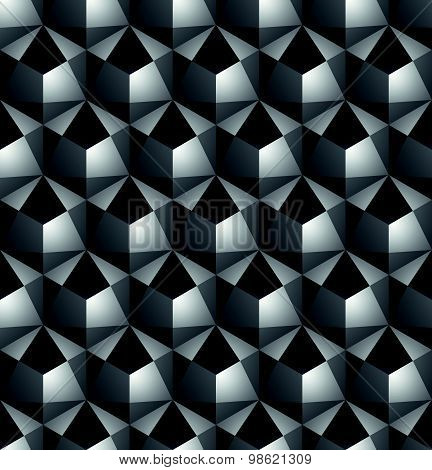 Futuristic continuous black and white pattern, illusive motif abstract background with 3d geometric