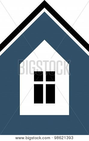Simple mansion icon isolated on white background, abstract house depiction. Country house