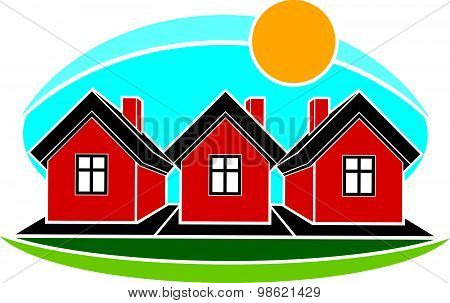 Real estate conceptual picture. Illustration of houses constructed from bricks over sunset backdrop